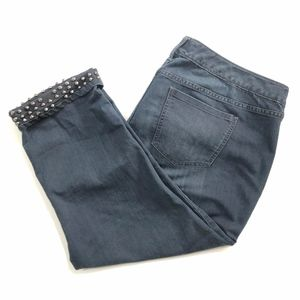 TORRID DARK WASH CROPPED STUDDED SPIKE CUFF JEANS